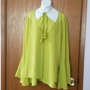 Chico's Chartreuse Sheer V-Neck Tunic 2